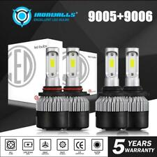 4x Combo 9005 9006 COB LED Headlight Bulb for GMC Sierra 1500 2500 HD 2001-2006