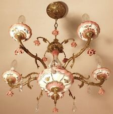 Stunning Vintage French Porcelain Rose, Crystal and Bronze 5 Light Chandelier