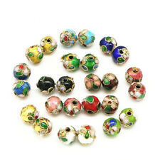10pcs Cloisonne Bead Enamel Round Ball Spacer Loose Floral Metal 6mm 8mm