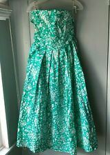 Vintage Laura Ashley Dress Strapless Green White Floral Garden Party