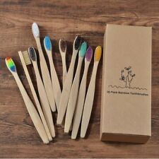 10 Pcs Bamboo Mixed Color Toothbrush Eco Friendly Wooden Soft Bristle