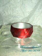 Vintage Style Ruby Red Cat Eye Deco Pattern Plastic Bangle Bracelet