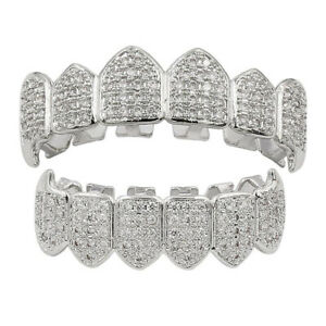 Fit Hip Hop Grills Fangs Top Bottom Set ICED AAA+ CZ Silver Plated Teeth Grillz
