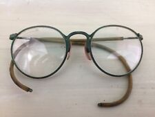 SAFETY GLASSES: Vtg 30s-40s Circle Eyeglasses S Lenses John Lennon Curved Temple