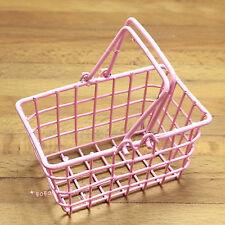 Dollhouse Miniature 1:6 Toy A Pink Metal Shopping Basket Length 6cm SPO429