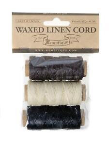 3pcs Set - 0.5mm 1mm Hemptique Waxed Linen Thread Bookbinding Craft Sewing Twine