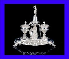 Antique Solid Silver Inkstand With Bell. France, Mid 19th C (circa 1860)