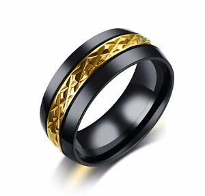 Gold and Black Diamond Pattern 316 L Stainless Steel Ring For Men/ Women 8-12