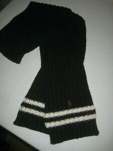 Polo Ralph Lauren Pony Logo Lambs Wool Blend Black/White Knit Scarf 84 in. VGUC!