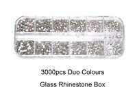 3000pcs Duo Colours Box ss3 - ss10 Nail Art UV Gel Glass Rhinestone Diamante Gem