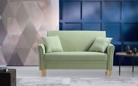 Modern Small Space Fabric Living Room Loveseat Sofa w/ 2 Pillows, Green