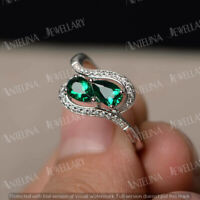 2.20 Ct Pear Cut Emerald & Diamond Halo Engagement Ring In 14K White Gold Finish