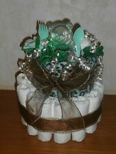 Diaper Cake Blue Design with Paisley Scroll Baby Blanket