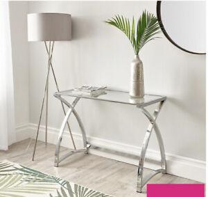 Modern Black Glass Office Work Home Desk Chrome Legs **Not Clear Glass**