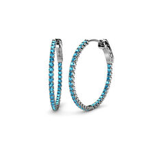 Round London Blue Topaz Inside-Out Hoop Earrings 3.00 ct tw in 14K Gold JP:36717