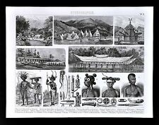 1874 Anthropology Print  New Guinea Dorey Culture - Humbodlt Bay Villages Temple