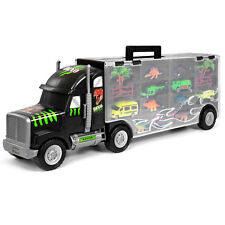 "22"" Kids Giant Transport Carrier Semi Truck Car Helicopter Dinosaur W/ 16 Toys"