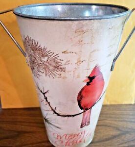 """New Tin Metal Cardinal bird Bucket Vase handles 10"""" tall Christmas holidays"""