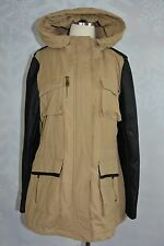 Steve Madden   size L  Sand colored anorak with faux leather sleeves   NWT
