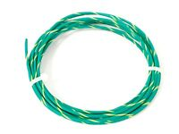 16 ga GAUGE GXL AUTOMOTIVE HIGH TEMP COPPER WIRE - 25 FT - GREEN W YELLOW STRIPE