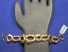 "Tags, Abstract Shapes, Toggle Closure, 7"" Chico's Gold Tone Bracelet, New with"