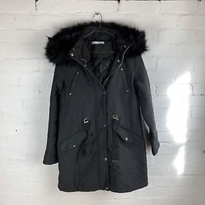 Michelle Keegan Faux Fur Hood Eyelet Detail Parka - Black UK16 Rrp £85