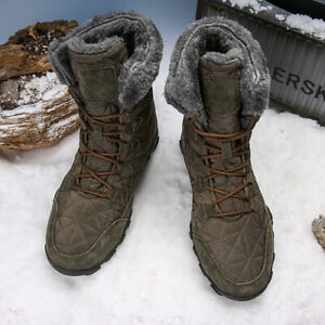 Men's winter warm fur suede leather and waterproof fabric ankle safety shoes
