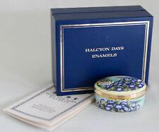 "Halcyon Days Enamel Oval Box 2000 ""Year to Remember"" Morning Glories & Box"