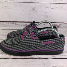 Sperry Womens Top Sider Black Gray Purple Checkered 9824442 Boat Shoes Size 9 M