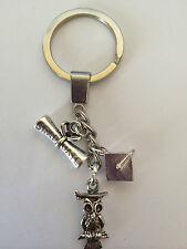 Silver Tone Graduation Key Ring Bag Charm Scroll, Owl & Mortar Board Hat Memento