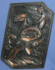 Vintage Abstract copper wall decor plaque woman horse rider