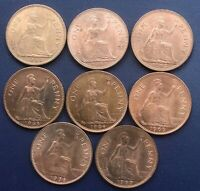 Elizabeth II Full Set Of All Eight Pre-Decimal Pennies, 1953 & 1961-1967. BUNC