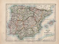 Mapa de España & Portugal 1902 ~ ~ Islas Baleares Andalucía Castilla Aragón Murcia