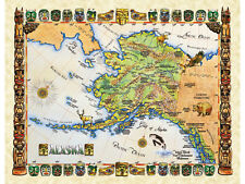 "19.5 x 25"" Alaska Vintage Look Map Poster Printed on Parchment Paper"