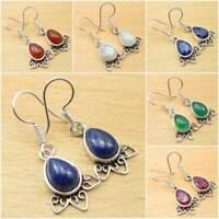 925 Silver Plated Navy Blue LAPIS LAZULI & Other Gemstone HANDMADE Earrings