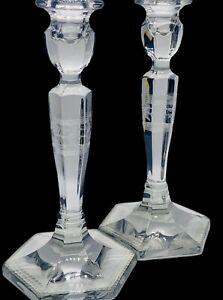 "Antique Etched Cut Glass Candlesticks Paneled Hexagonal Base 8.5""H Set Of 2"