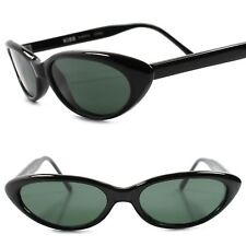 Genuine Vintage Deadstock 80s Fashion Rockabilly Small Black Cat Eye Sunglasses