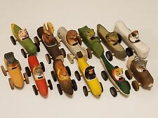 Wood Carved Folk Art Polychrome Painted animals driving cars collection, 12total