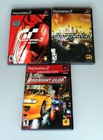 Lot of 3 PS2 (Gran Turismo 3,Need For Speed Undercover, Midnight Club) Tested