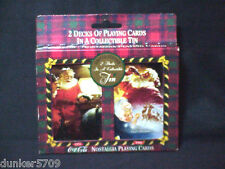 SET OF TWO PACKS COCA COLA PLAYING CARDS IN METAL TIN -FACTORY SEALED CARDS 1997