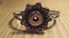 Silver metal Rhinestone Noosa chunk 18-20mm snap button charm bangle bracelet