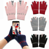 Cute CARTOON CATS TOUCH SCREEN GLOVES WINTER WARM FULL FINGER KNITTED MITTENS~~
