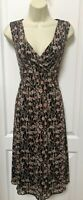 Nine West Size Small Womans Brown Beige Pink Floral Sleeveless Career Midi Dress