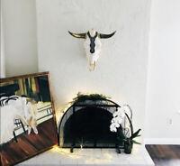 "Handmade Art Deco wall hanging cow skull taxidermy 20"" Boho Beaded Gold Horns"