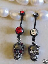 Black Skull with Bow and CZ Gem Eyes Dangle Navel/Belly Ring.