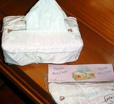 2 Pink Fabric tissue box cover roses,bows and ribbon fits 3 ½ inch tall boxes