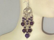 Gemstone Earrings - Russian Amethyst & 925 Sterling Silver - long chandeliers