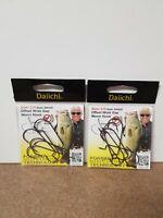 (2) Jimmy Houston Daiichi Offset Black Nickel Worm Hooks -DH42Z-Size 2/0 -8 Hook