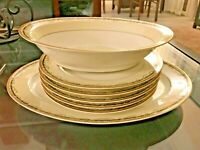 HAVILAND France Haviland Limoges 5PC Dinner Plates, Salad Bowl & Serving Plate