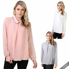 Collared Chiffon Machine Washable Tops & Blouses for Women